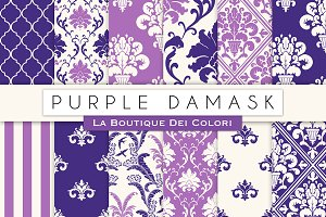 Purple Damask Seamless Digital Paper