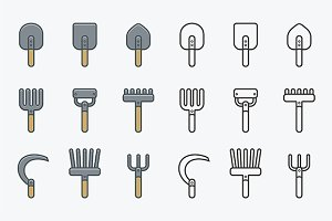 Gardening Tools Icons + pattern