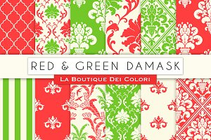 Red and Green Damask Digital Paper