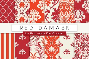 Red Damask Seamless Digital Paper