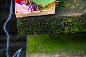 Box with traditional balinese morning offerings, Ubud, Bali