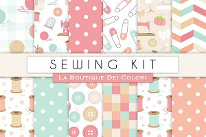 Sewing Kit Seamless Digital Paper