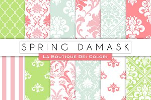 Spring Damask Seamless Digital Paper