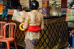 Woman with ceremonial box, Ubud, Bali