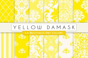 Yellow Damask Seamless Digital Paper