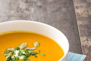 Pumpkin soup and pumpkin seeds