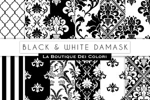 Black Damask Seamless Digital Paper