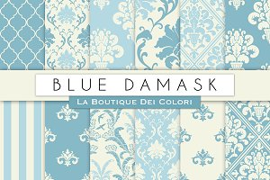 Blue Damask Seamless Digital Paper