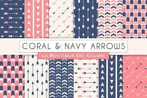 Coral and Navy Arrow Digital Paper