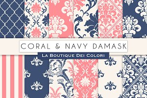 Coral and Navy Damask Digital Paper
