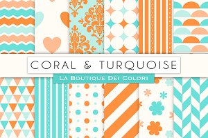 Coral and Turquoise Digital Paper