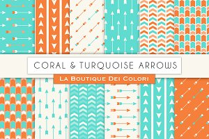 Coral Turquoise Arrow Digital Paper