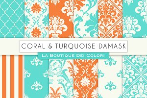 Coral and Turquoise Damask