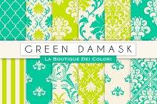 Green Damask Seamless Digital Paper