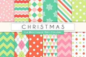 Red Green Pink Christmas Patterns