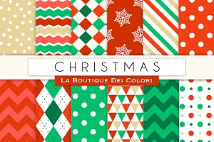 Red Gold Green Christmas Patterns