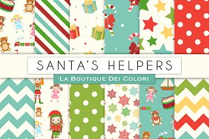 Christmas Elfs and Toys Digita Paper