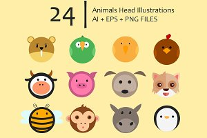 Animals Head Illustrations