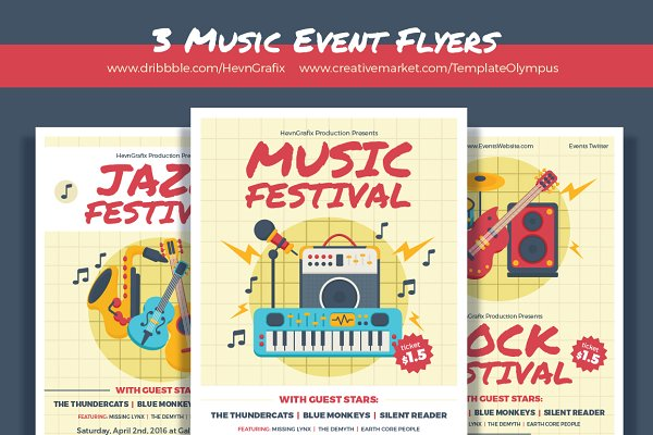 3 Music Event Flyers