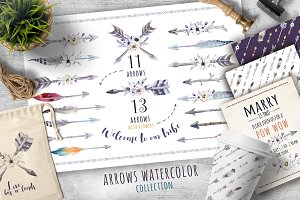 Tribe watercolor boho arrows II