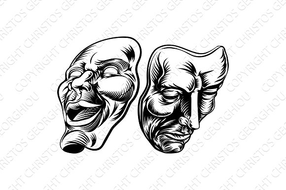 Theatre Masks Comedy Tragedy Comedy ~ Illustrations on