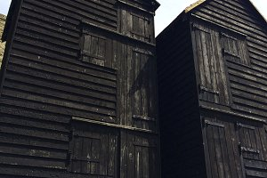 Old Fashioned Black Fishing Huts