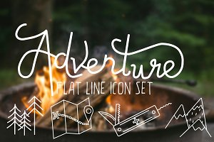 Adventure Flat Line Icon Set