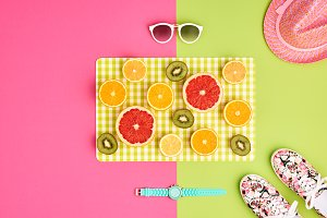 Fashion Summer Accessories Set. Tropical fruit