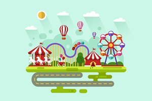 Carnival or Amusement Park Vector