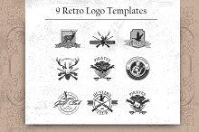 9 Retro logo template set.