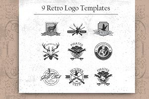 9 Retro logo template set.