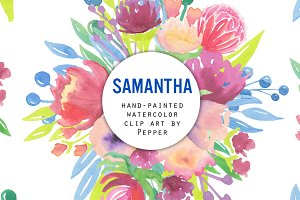 Samantha Watercolor Flowers Clipart