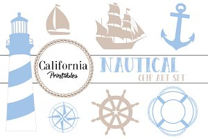 Nautical Clip Art Set - Beige / Blue