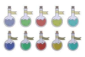 Magic potions set. Vector