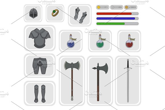 Game inventory. Vector - Illustrations