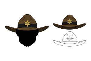 Wild west sheriff hat. Vector
