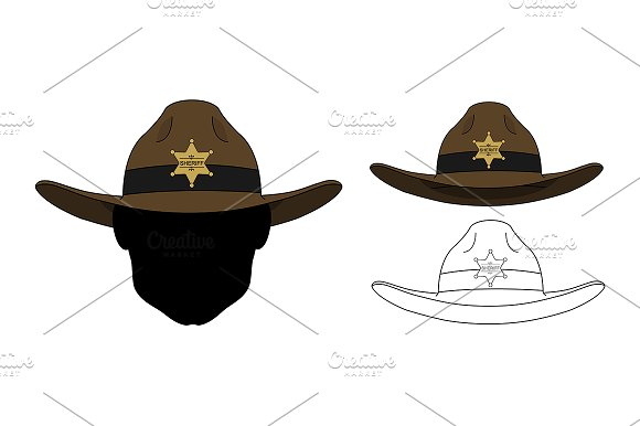 Wild west sheriff hat. Vector - Illustrations