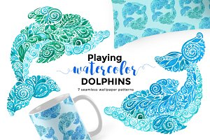 Playing Watercolor DOLPHINS