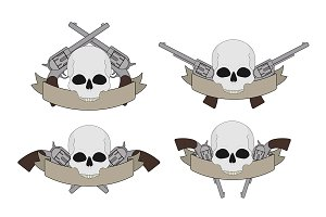 Wild west pistols and skulls. Vector