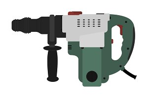 Big electric hammer drill. Vector