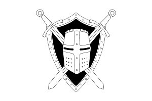 Two swords shield and helmet. Vector
