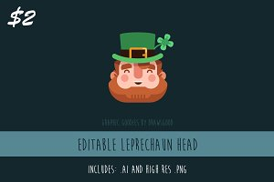Editable Vector Leprechaun Head