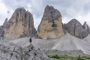 Male hiker posing in Dolomites