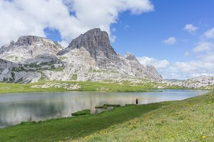 Enjoying the dolomites lake scenery