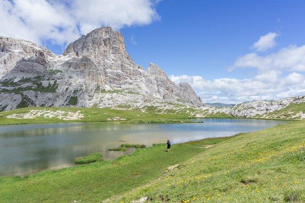 Enjoying the dolomites lake scenery