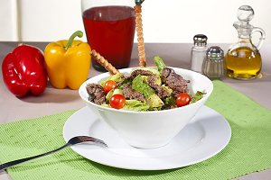 rsh salad with meat
