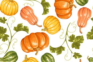 Seamless patterns with pumpkins.