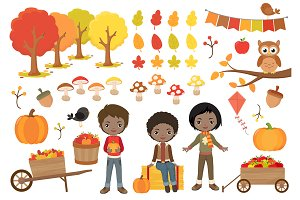 Autumn Boys Clipart