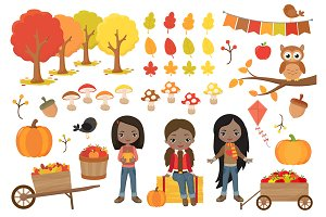 Cute Fall Girls Clipart
