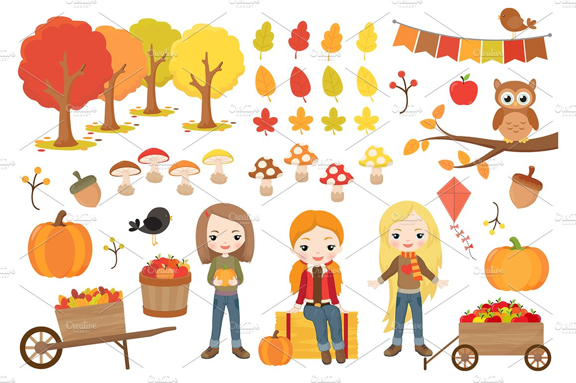 Cute Fall Girls Clipart ~ Illustrations ~ Creative Market